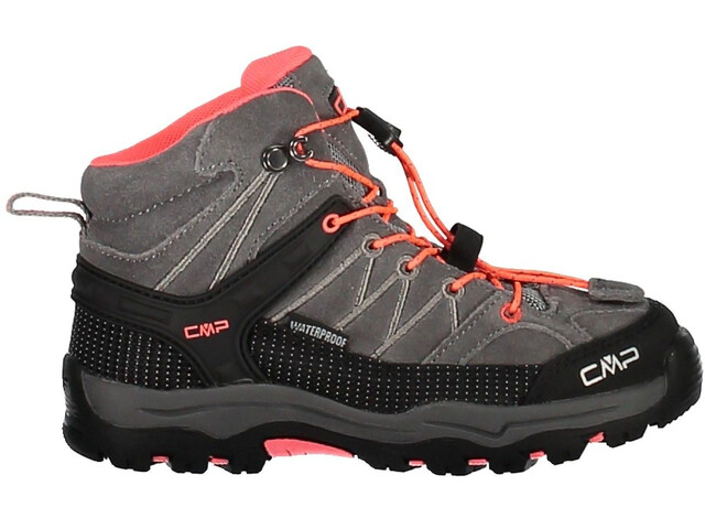CMP Campagnolo Kids Rigel Mid WP Trekking Shoes Grey-Red Fluo